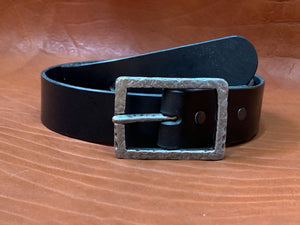 Handmade Black Leather Belt, Center Bar Buckle