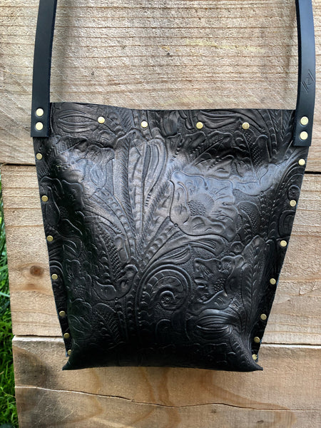 Black Embossed Urban Crossbody, Medium