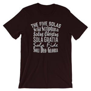 "Men's oxblood black t-shirt reads ""The Five Solas-Sola Scriptura, Solas Christus, Sola Gratia, Sola Fide, Soi Deo Gloria"""