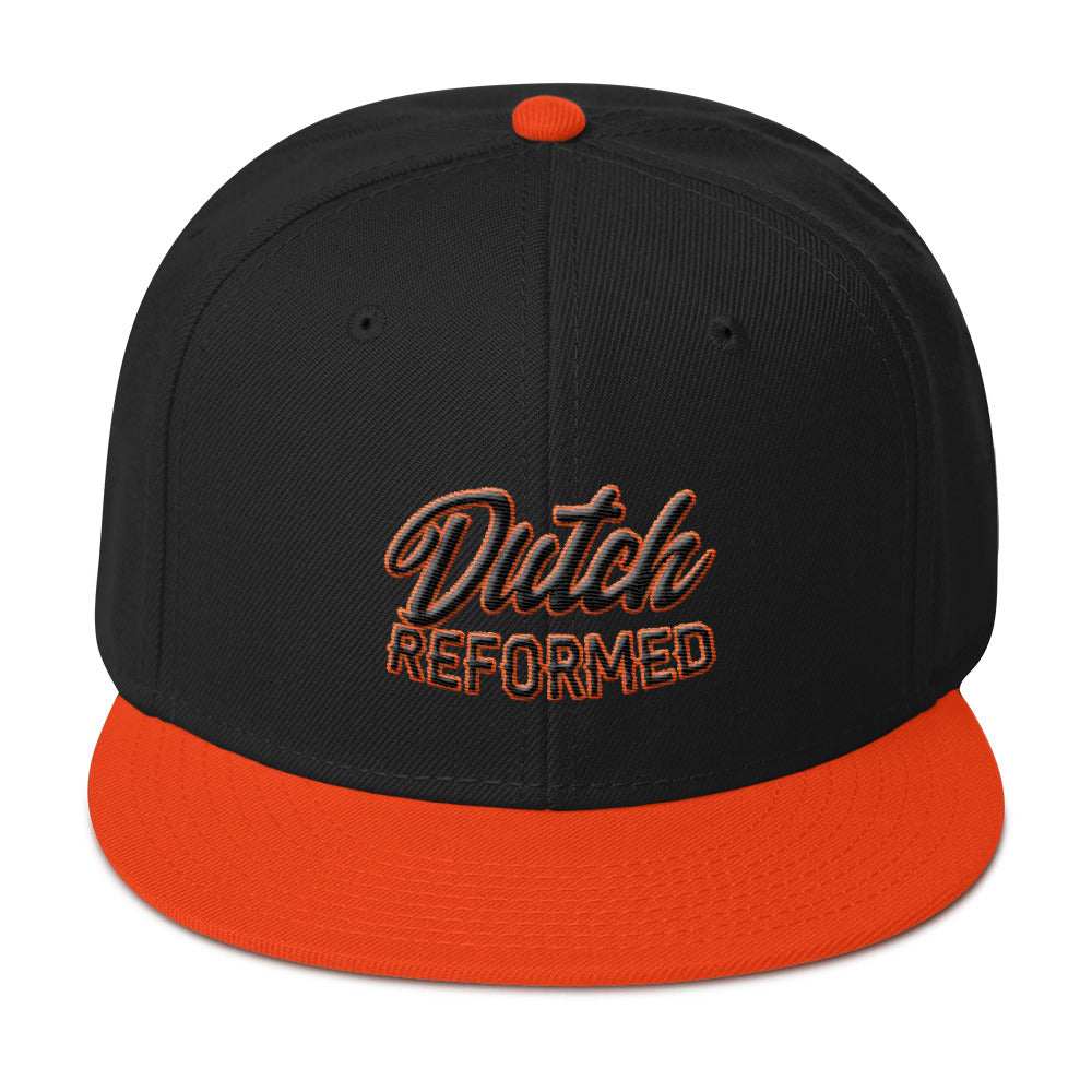 black and orange baseball cap with Dutch Reformed in black and orange emroidery
