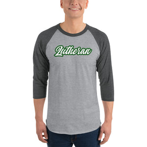 Gray raglan tee with gray sleeves and Lutheran outlined in green