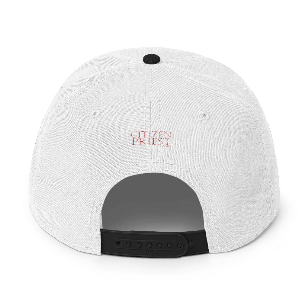 "Back view of ""Anglican"" black and white baseball cap"