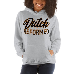 Gray Hoodie with Dutch Reformed in black lettering