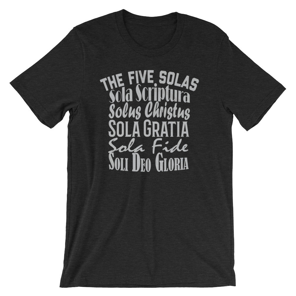 "Men's black t-shirt reads ""The Five Solas-Sola Scriptura, Solas Christus, Sola Gratia, Sola Fide, Soi Deo Gloria"""