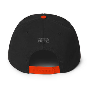 back view of black and orange baseball cap with Dutch Reformed in black and orange emroidery