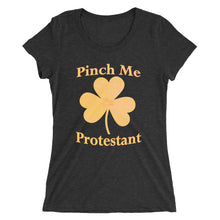 Load image into Gallery viewer, St Paddy's Day Protestant Pinch Me t-shirt womens black and orange