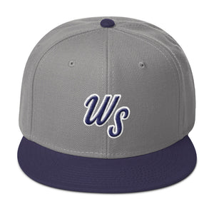 """WS"" grey and navy blue baseball cap"