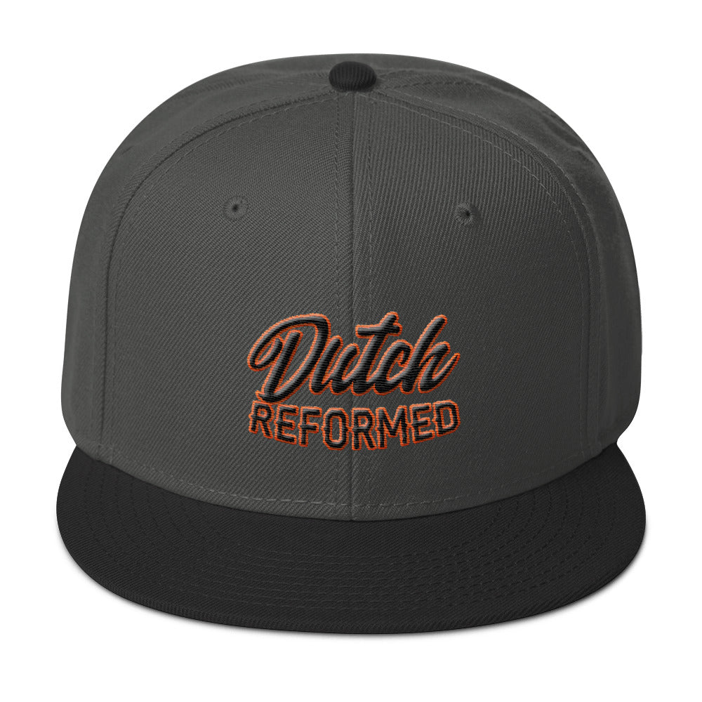 Grey baseball cap with Dutch Reformed in black and orange embroidery