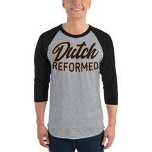 Load image into Gallery viewer, gray with black sleeves raglan tee with Dutch Reformed in black lettering