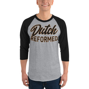 gray with black sleeves raglan tee with Dutch Reformed in black lettering