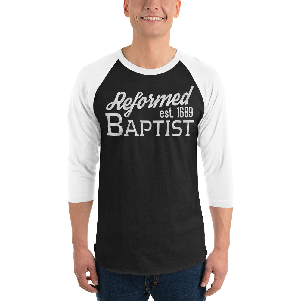 Reformed Baptist est. 1689 black raglan tee with white sleeves