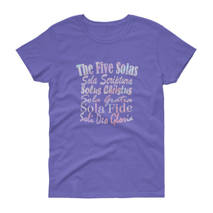"Ladies violet t-shirt with white lettering reads ""The Five Solas-Sola Scriptura, Solas Christus, Sola Gratia, Sola Fide, Soi Deo Gloria"""