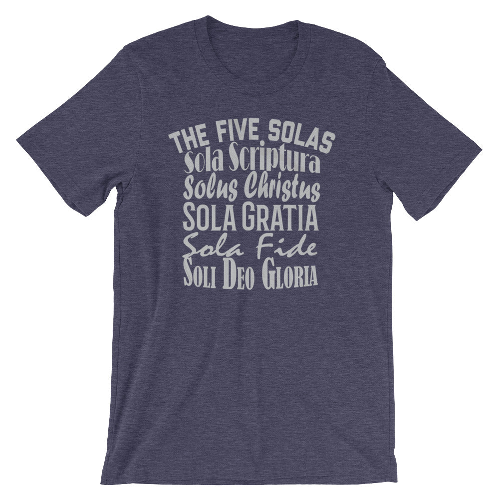 "Men's navy t-shirt reads ""The Five Solas-Sola Scriptura, Solas Christus, Sola Gratia, Sola Fide, Soi Deo Gloria"""