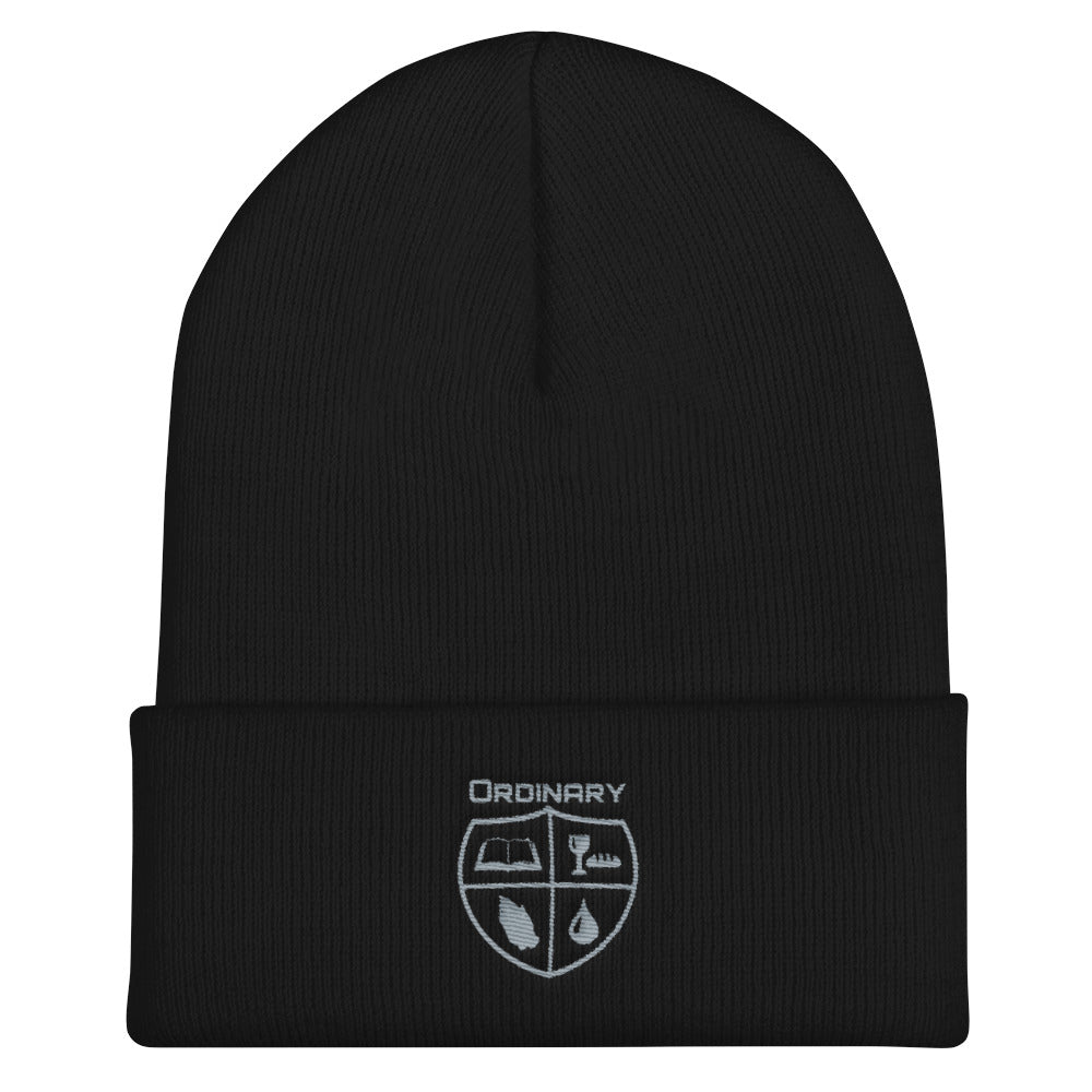 Black beanie with symbols of the Bible, The Lord's Supper, Prayer, and Baptism (Ordinary means of grace)