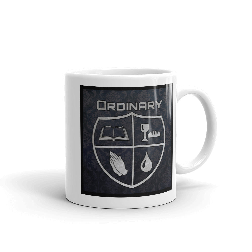 11oz. men's design mug with symbols of the Bible, The Lord's Supper, Prayer, and Baptism (Ordinary means of grace)