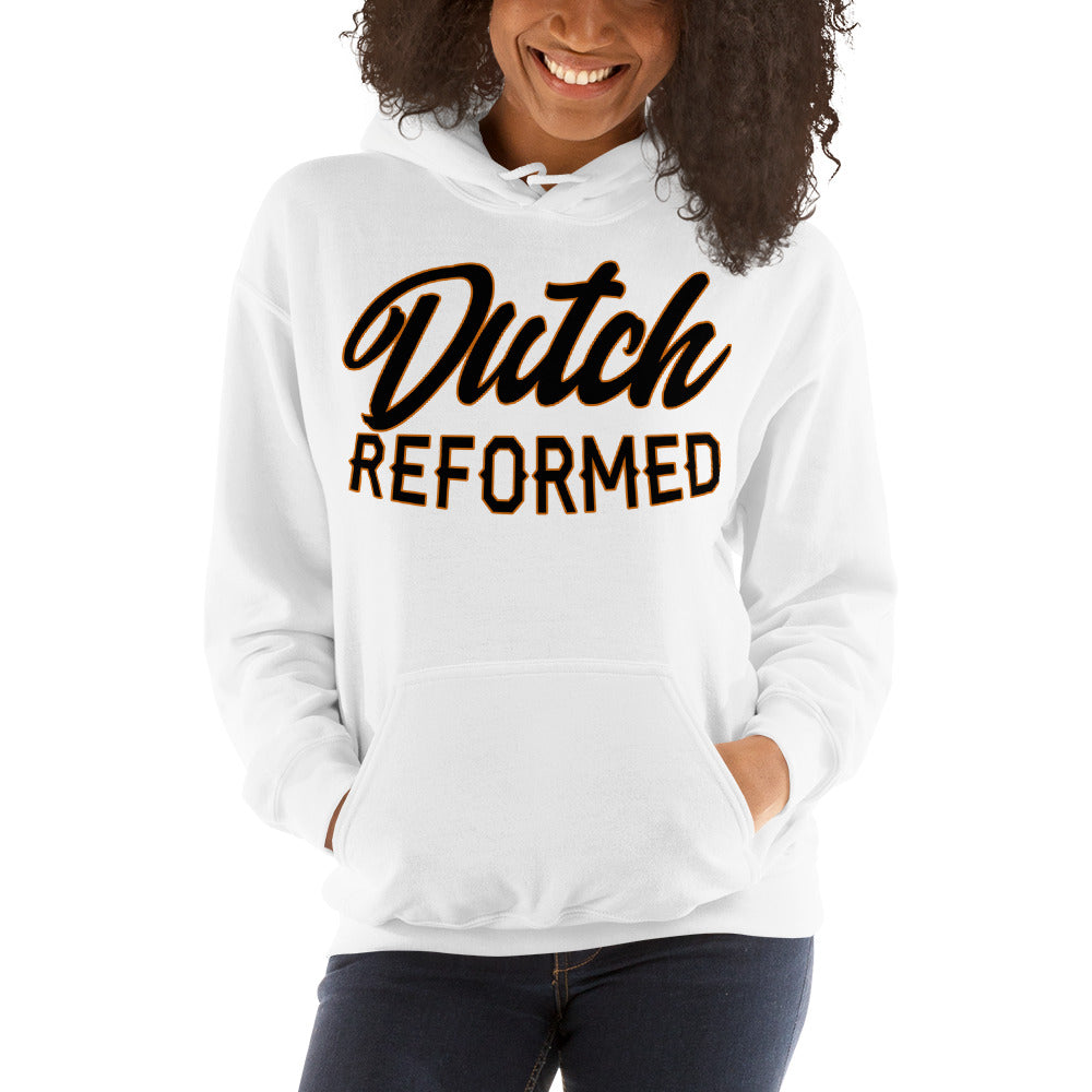 White Hoodie with Dutch Reformed in black lettering