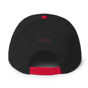 "Back view of ""Anglican"" black and red baseball cap"