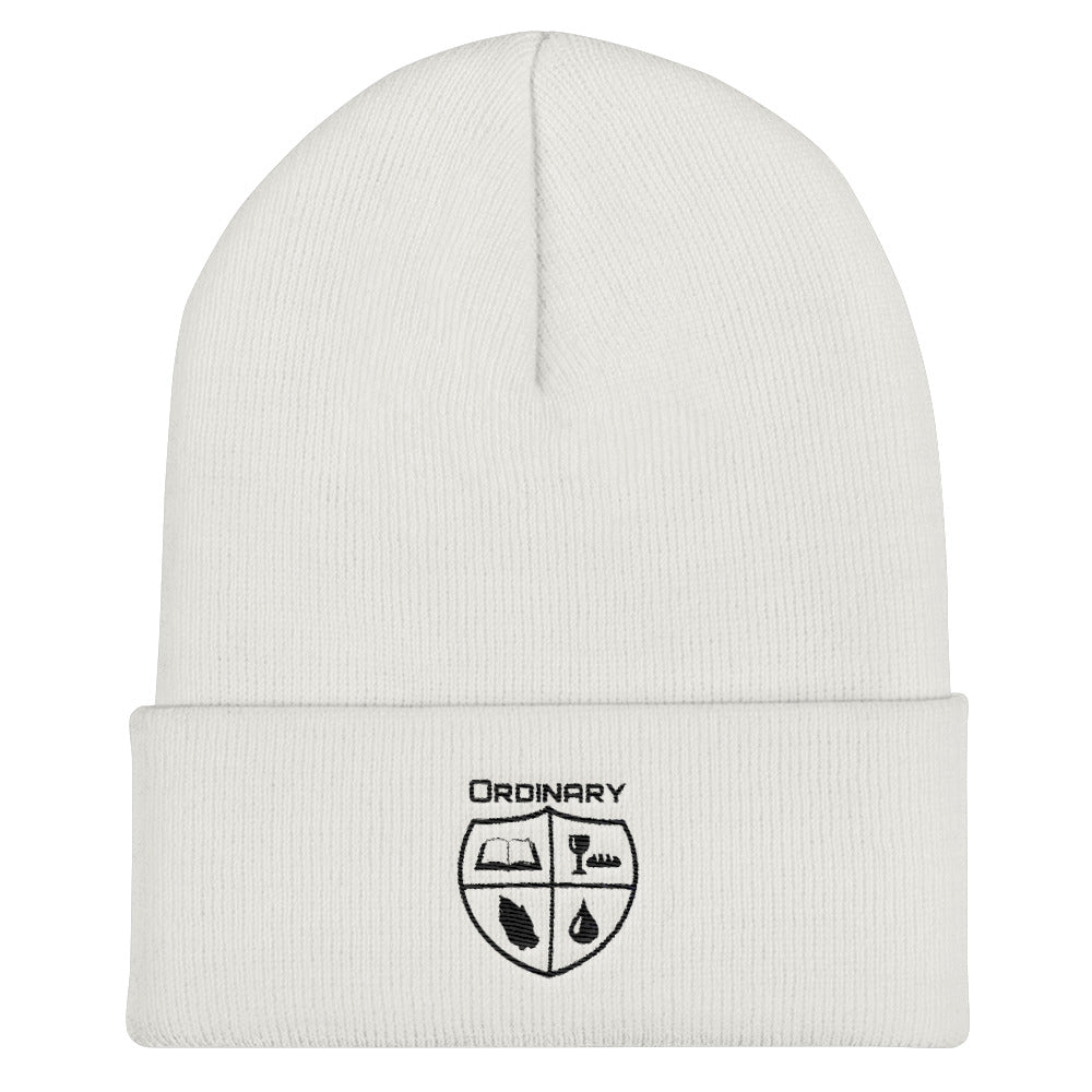 White beanie with symbols of the Bible, The Lord's Supper, Prayer, and Baptism (Ordinary means of grace)