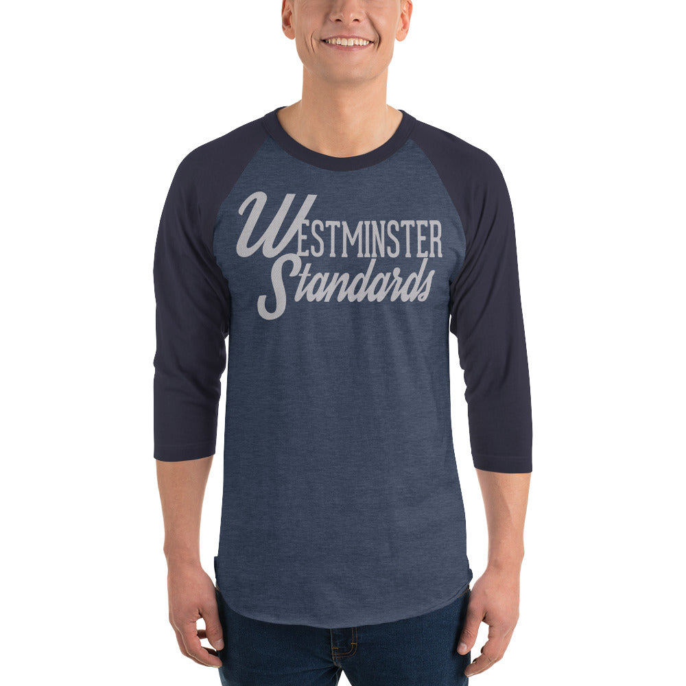 """Westminster Standards"" blue raglan tee"