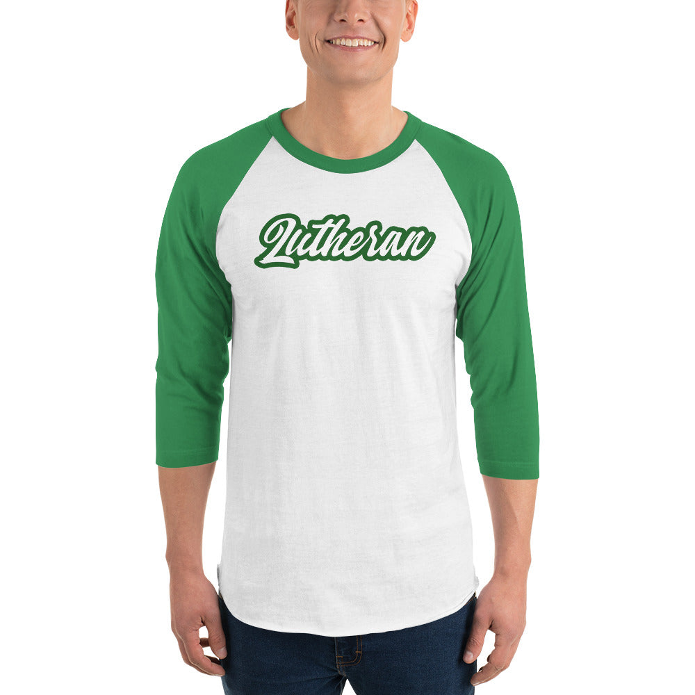 White raglan tee with green sleeves and Lutheran outlined in green