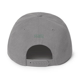back view of grey baseball cap with Lutheran in green and white embroidery