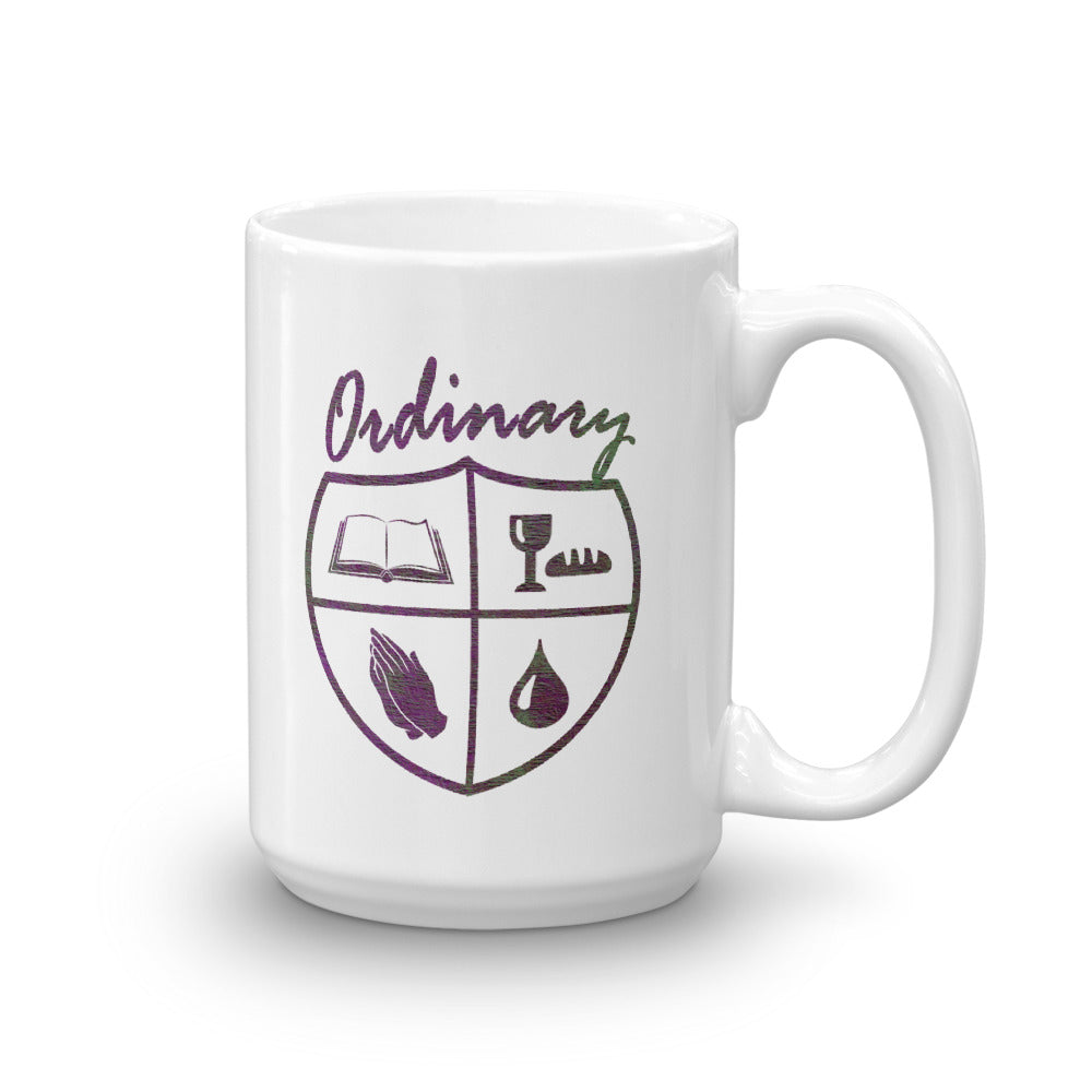 15oz. ladies' design mug with symbols of the Bible, The Lord's Supper, Prayer, and Baptism (Ordinary means of grace)