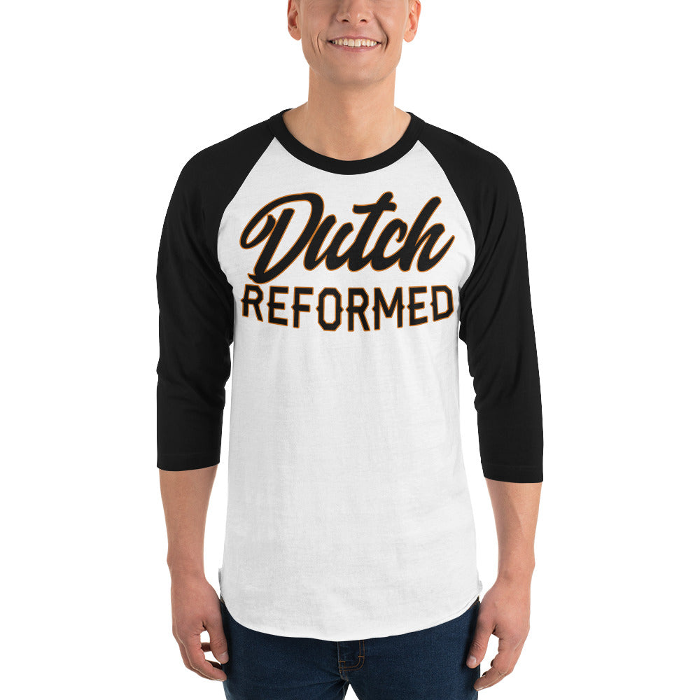 White with black sleeves raglan tee with Dutch Reformed in black lettering