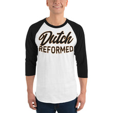 Load image into Gallery viewer, White with black sleeves raglan tee with Dutch Reformed in black lettering