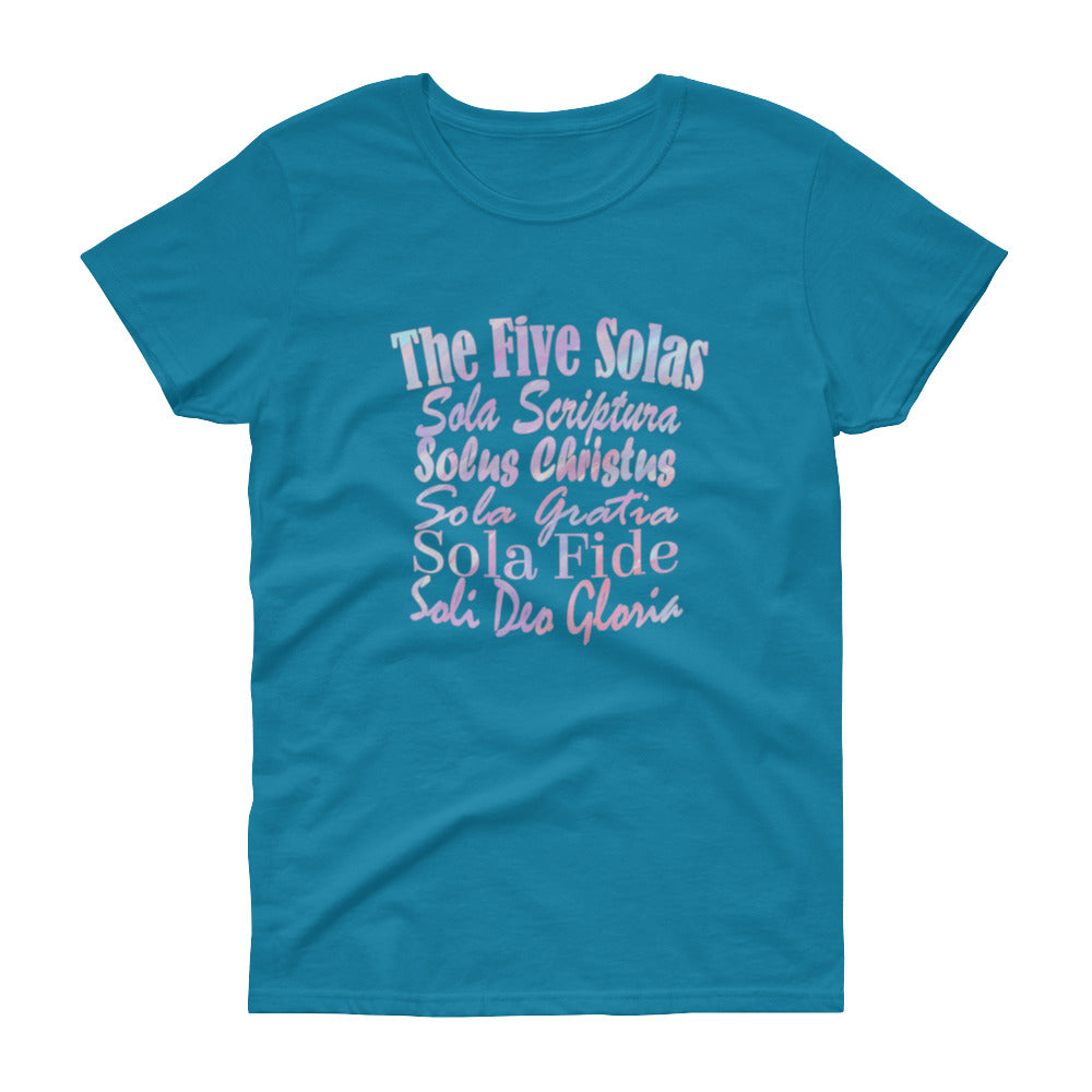 "Ladies sapphire t-shirt with white lettering reads ""The Five Solas-Sola Scriptura, Solas Christus, Sola Gratia, Sola Fide, Soi Deo Gloria"""