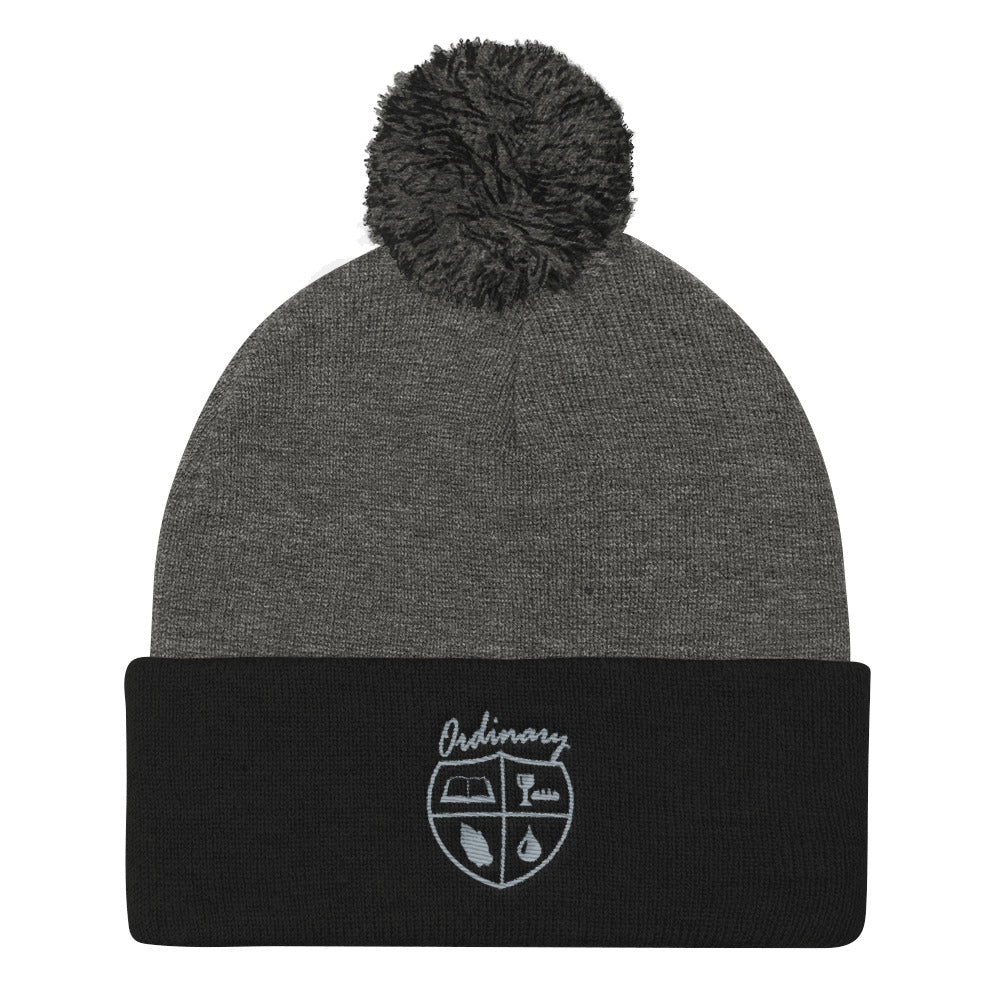 Ladies' Black and Dark Heather Grey knit cap with symbols of the Bible, The Lord's Supper, Prayer, and Baptism (Ordinary means of grace)