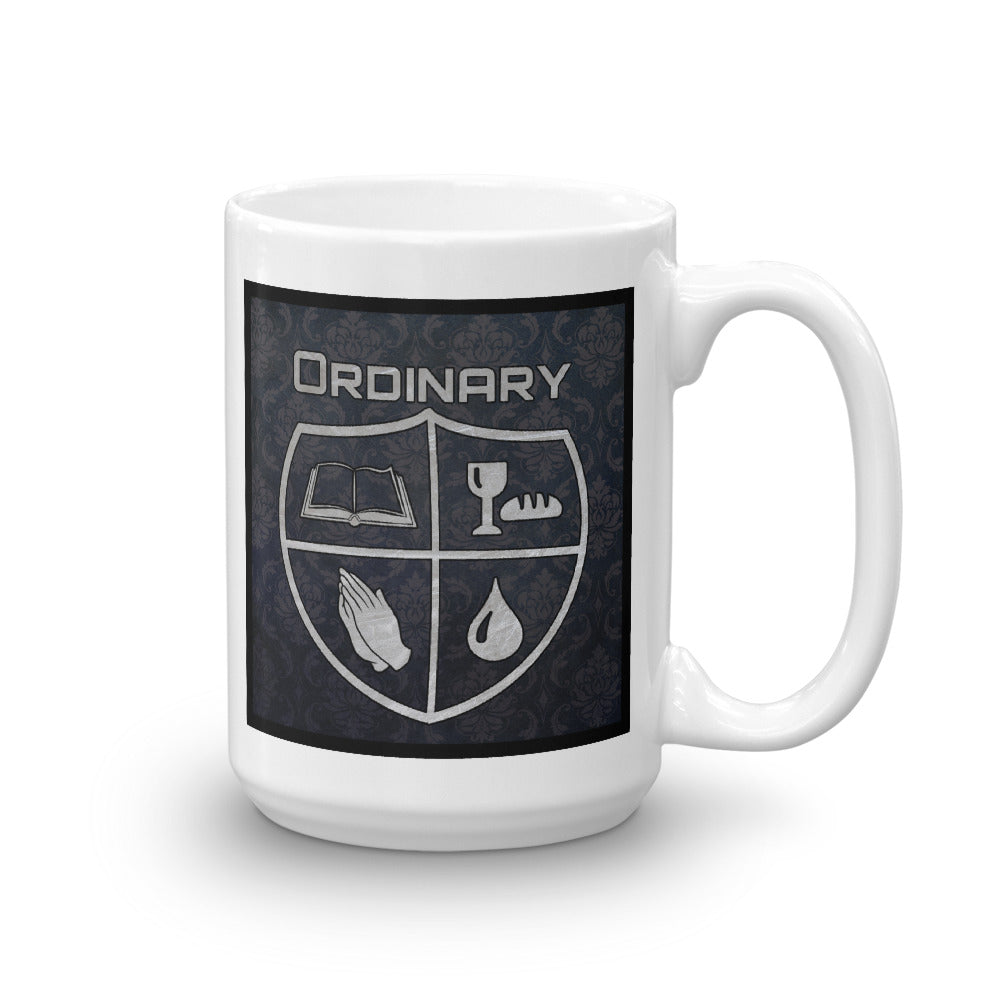 15oz. men's design mug with symbols of the Bible, The Lord's Supper, Prayer, and Baptism (Ordinary means of grace)