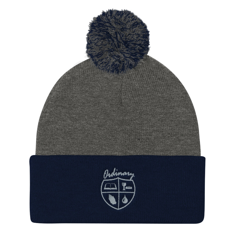 Ladies' Navy and Dark Heather Grey knit cap with symbols of the Bible, The Lord's Supper, Prayer, and Baptism (Ordinary means of grace)