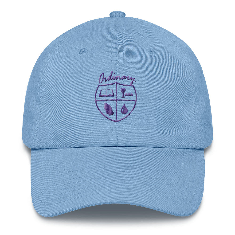 Ladies' Carolina Blue cap with symbols of the Bible, The Lord's Supper, Prayer, and Baptism (Ordinary means of grace)