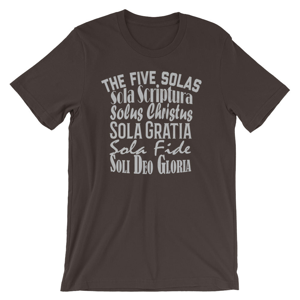 "Men's brown t-shirt reads ""The Five Solas-Sola Scriptura, Solas Christus, Sola Gratia, Sola Fide, Soi Deo Gloria"""
