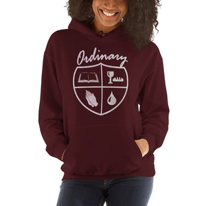 Ordinary means of grace reformed hoodie maroon womens