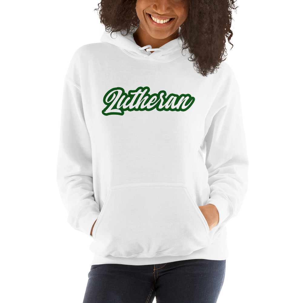 White hoodie with Lutheran outlined in green