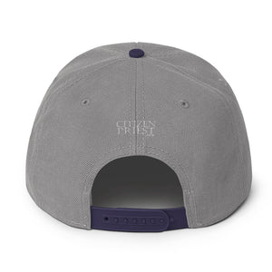 "back view of ""WS"" grey and navy blue baseball cap"