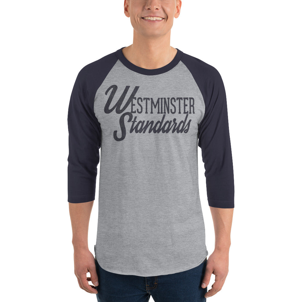 """Westminster Standards"" grey raglan tee"