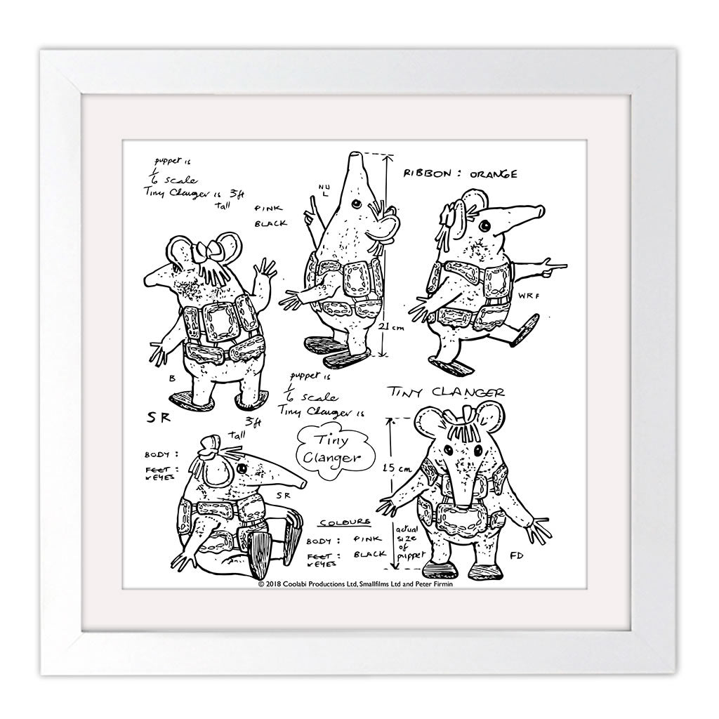 Clangers Square White Framed Art Print