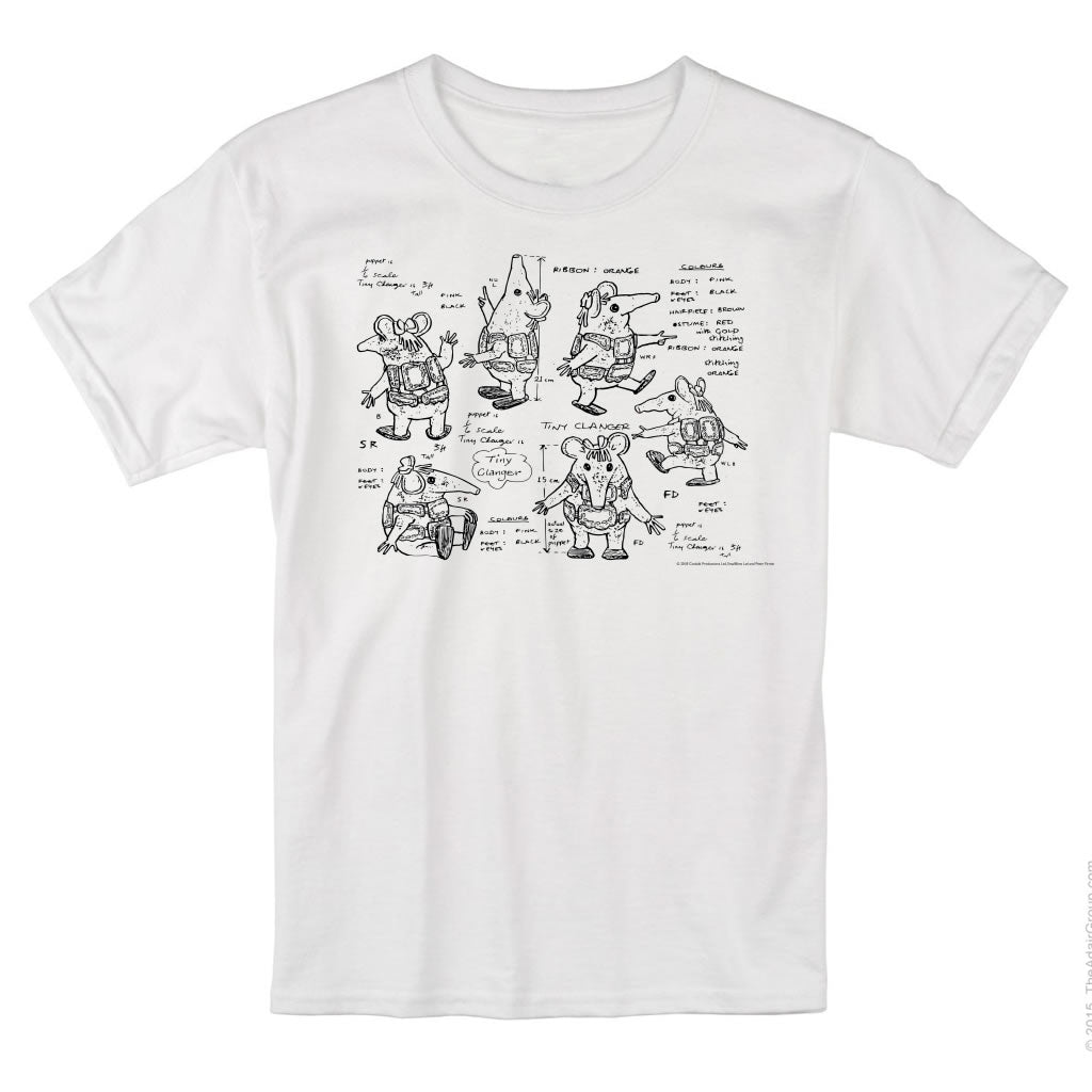 Clangers Sketch Art T-Shirt Tiny Clanger