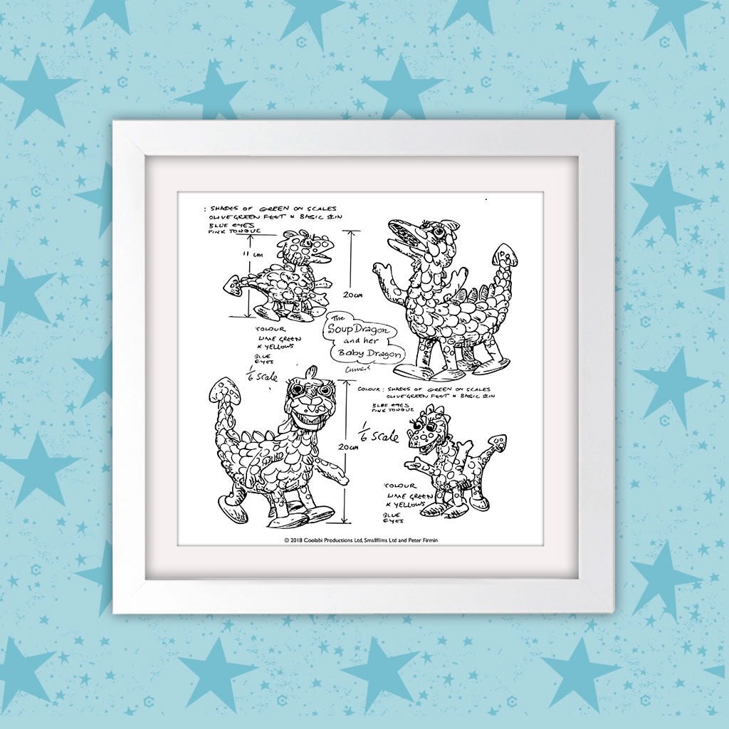 Clangers Square White Framed Art Print (Lifestyle)