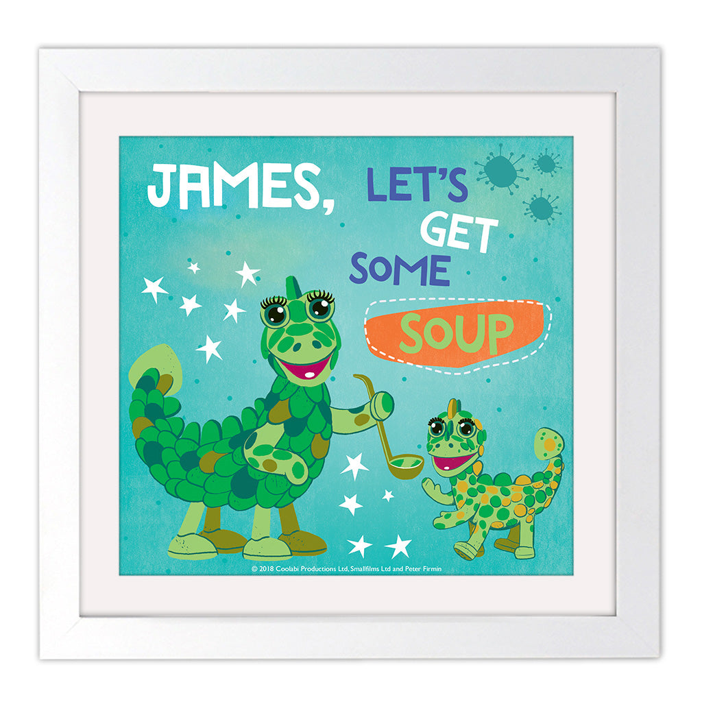 Get Some Soup Clangers Personalised Square White Framed Art Print
