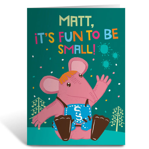 Fun to be Small Clangers Personalised Greeting Card