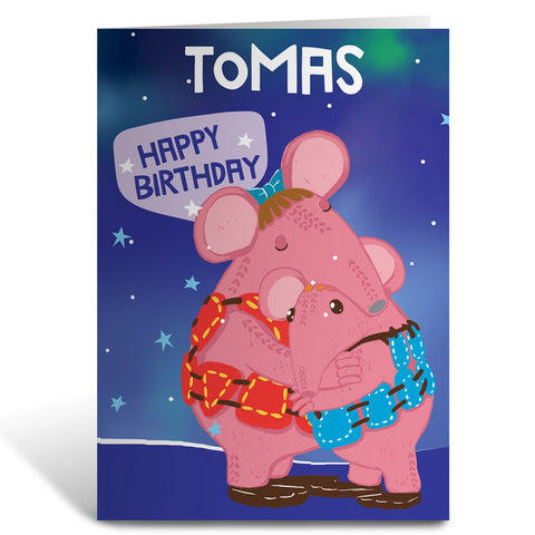 Cuddles Clangers Personalised Greeting Card