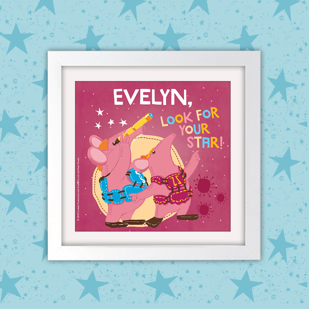 Your Star Clangers Personalised Square White Framed Art Print (Lifestyle)