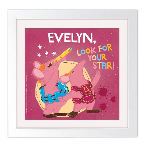 Your Star Clangers Personalised Square White Framed Art Print