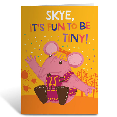 Fun to be Tiny Clangers Personalised Greeting Card