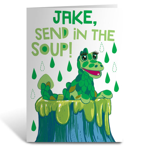 Send in the Soup Clangers Personalised Greeting Card