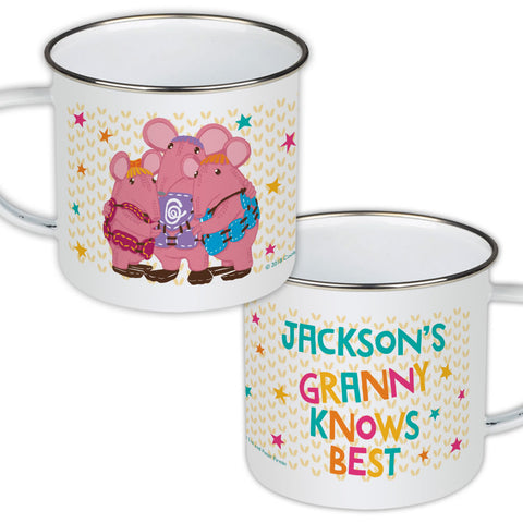 Granny Knows Best Clangers Personalised Enamel Mug
