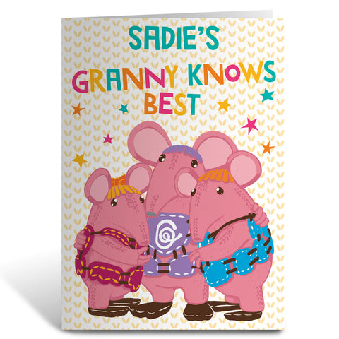 Granny Knows Best Clangers Personalised Greeting Card
